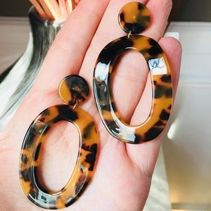 Tortoise Shell Earrings Large Curved Oval Acetate